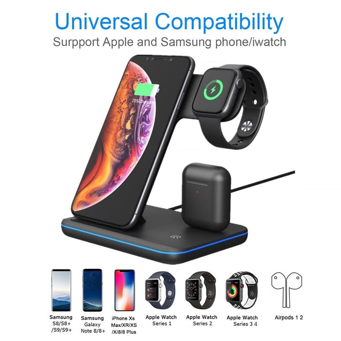 Universal 15W Qi Wireless Quick Charge 3.0 Fast Charger Dock Stand For Apple iPhones Airpods iWatch