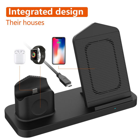 Image of Fast 3 in 1 Wireless Charging Qi 10W Dock Station For iPhones AirPods Apple Watch
