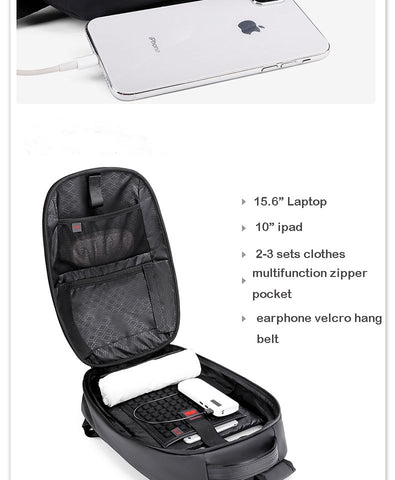 Image of 15.6 Inch Hard Shell Laptop Multi-Functional Travel Outdoor Anti-Theft USB Port Backpack