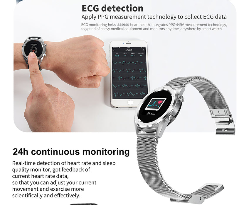 IP68 Waterproof Smart Watch ECG Heart Rate Monitor Fitness Tracker Wristband For iPhone Android