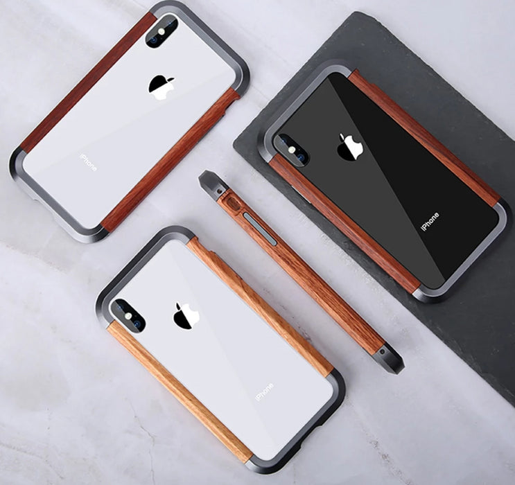 Aluminum Metal Bumper Slim Natural Wood Armor Phone Protective Case For iPhone X XS MAX