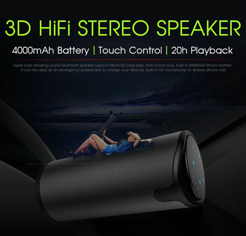 Image of 3D Stereo Bluetooth Wireless Subwoofer Column Portable Touch Control Hands-Free Speaker With Mic