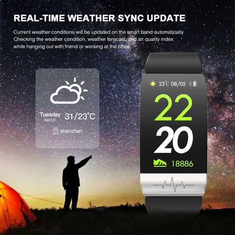 Image of Fitness Tracker Heart Rate Monitor IP67 Waterproof Weather Forecast Sports Smart Band Watch