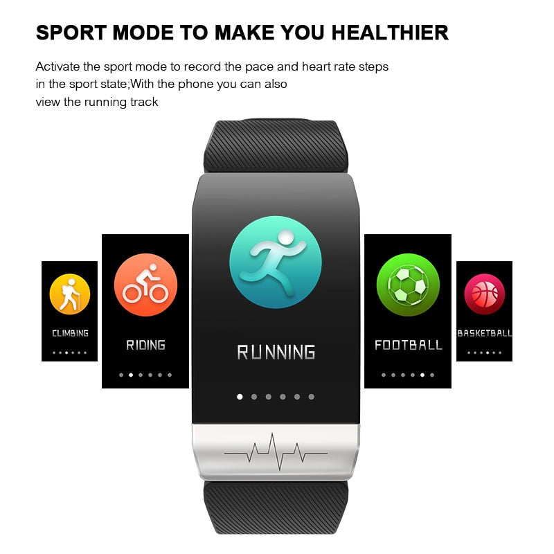 Fitness Tracker Heart Rate Monitor IP67 Waterproof Weather Forecast Sports Smart Band Watch