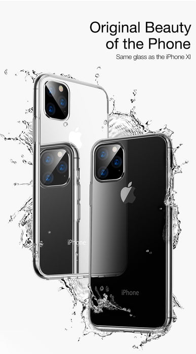 Case for iPhone 11 Pro MAX Cover Ultra Thin Transparent TPU Edge Tempered Glass Back Cover