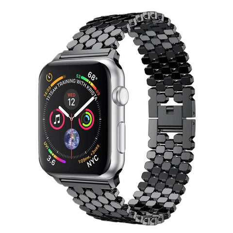 Image of Honeycomb Stainless Steel Apple Watch Strap, Compatible With Series 5/4/3/2/1