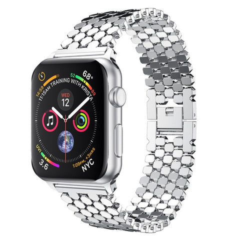 Honeycomb Stainless Steel Apple Watch Strap, Compatible With Series 5/4/3/2/1