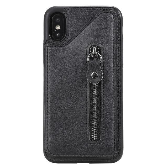 Zipper Wallet Case for iPhone 11 Pro Max with Card Holder Kickstand Double Magnetic Clasp and Durable Shockproof Cover