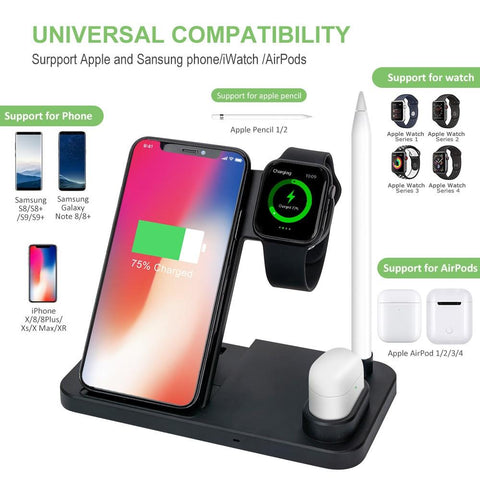 Image of 4 in 1 Wireless Charger for iPhone 11 Pro Max Xs Fast Charge Wireless Charger Stand