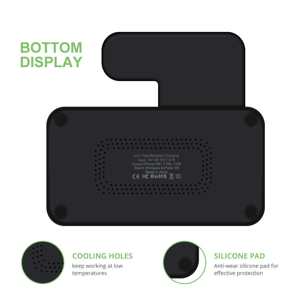 4 in 1 Wireless Charger for iPhone 11 Pro Max Xs Fast Charge Wireless Charger Stand