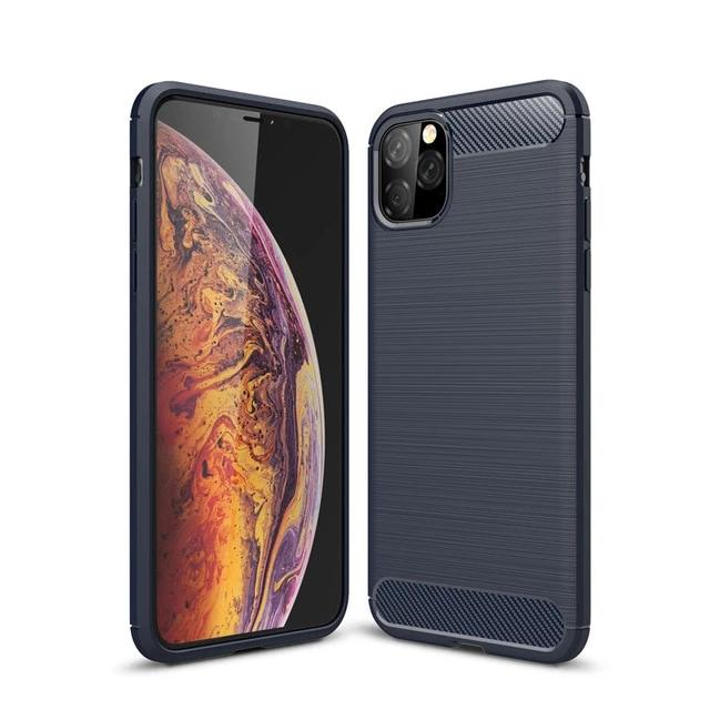 Soft Silicone Case for iPhone 11  Pro Max Carbon Fiber Back