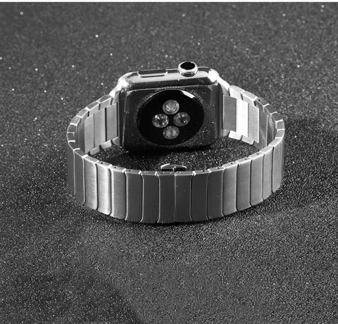 Stainless Steel Metal Apple Watch Band Butterfly Buckle, Compatible With Series 5/4/3/2/1
