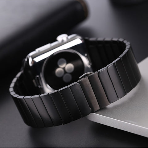 Image of Stainless Steel Metal Apple Watch Band Butterfly Buckle, Compatible With Series 5/4/3/2/1