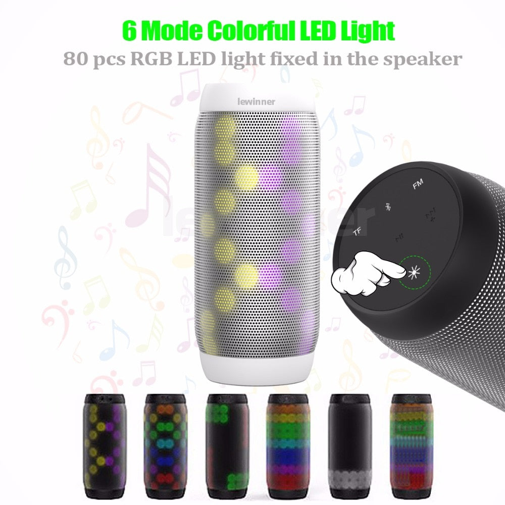 Colorful Waterproof LED Portable Bluetooth Speaker with Flashing Lights