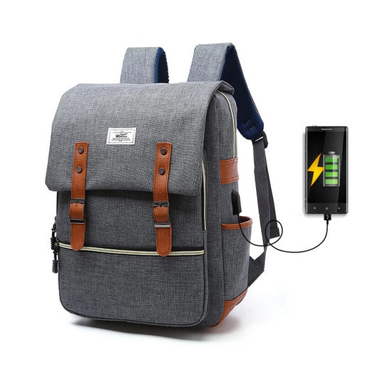 Preppy Water-Repellent External USB Charging Sport Backpack Laptop Bag for Outdoor Travel School