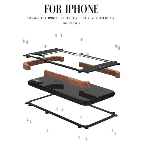 Image of New Hybrid Natural Wood Aluminum Metal Frame Phone Case for iPhone X 8 7 6 Series