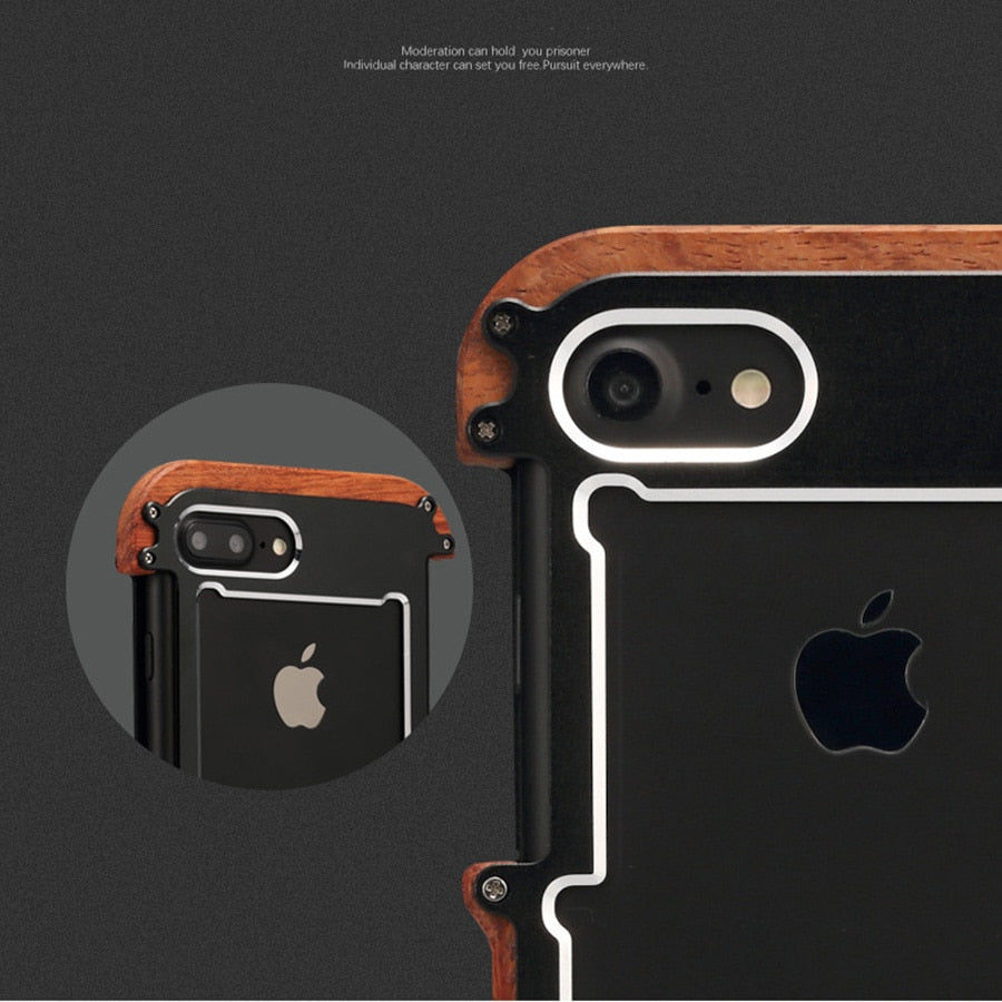 New Hybrid Natural Wood Aluminum Metal Frame Phone Case for iPhone X 8 7 6 Series