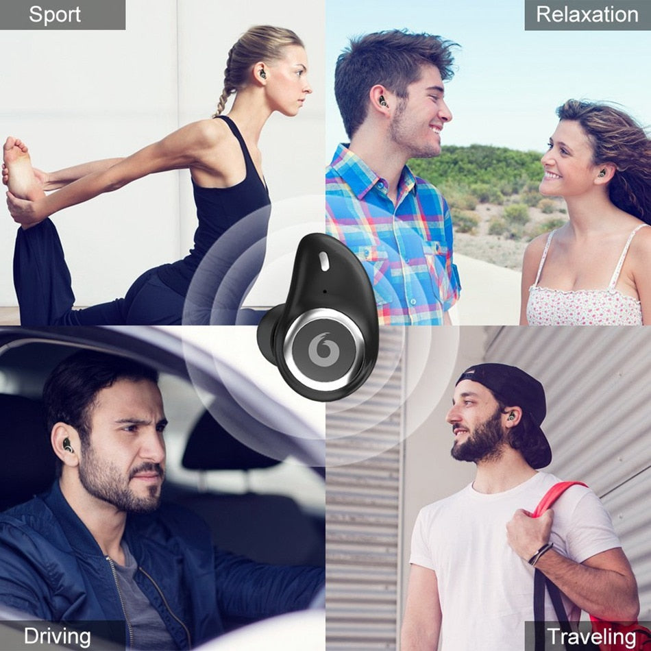 New Wireless Sports Bluetooth Earphones Headphones Headset Wireless 3D Stereo Headsets with Power Bank