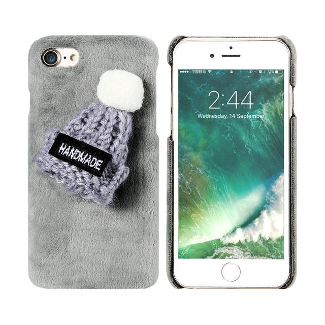 Fluffy Christmas Knitted Hat Case For iPhones