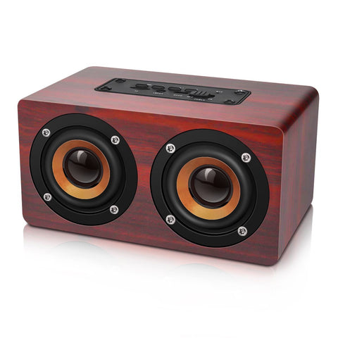 Image of Retro Wooden Bluetooth Speaker HIFI Wireless Dual Loudspeakers 3D Surround Speaker
