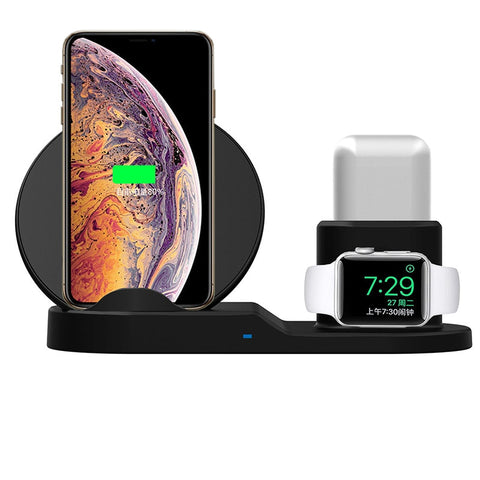 Image of 3 In 1 Qi Fast Wireless Charger Dock Station For iPhone XS XR XS Max & Apple Watch Series 1 2 3 & AirPods