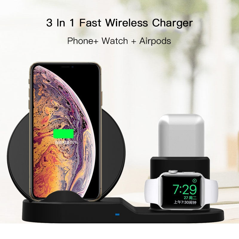 3 In 1 Qi Fast Wireless Charger Dock Station For iPhone XS XR XS Max & Apple Watch Series 1 2 3 & AirPods