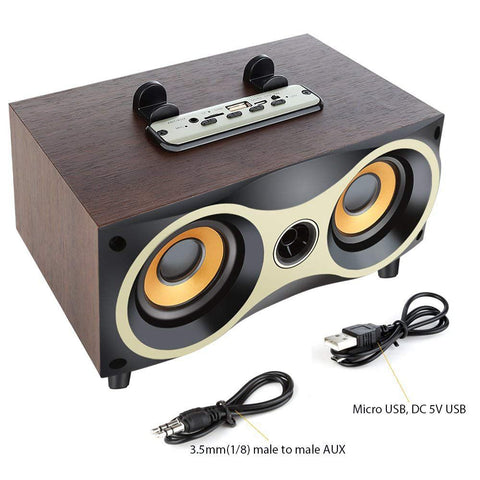 Image of New Retro Desktop Portable Wooden Wireless Subwoofer Stero Bluetooth Speaker With FM Radio Holder For iOS Android