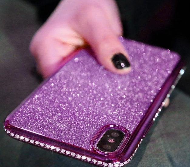 Glitter Diamond Case with Magnetic Finger Ring Kickstand For Samsungs & iPhones