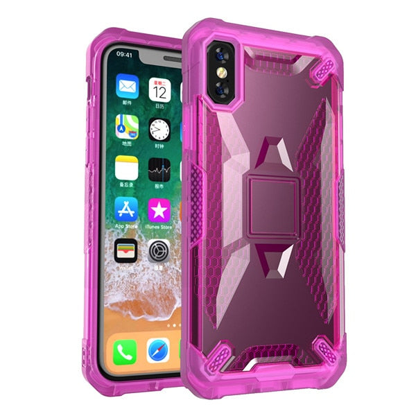 New Rugged Protective Shockproof Phone Case Bumper Cover Anti-Slip Armor Shell For iPhone XR XS MAX X 8 Plus
