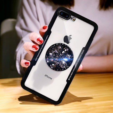 Image of Transparent Case Plus Diamond Flower Pop Socket for iPhones & Samsungs