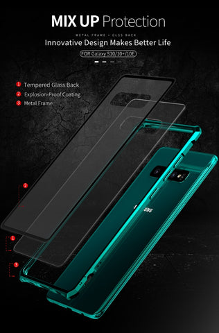 New Luxury Metal Armor Cover Case Frame Shell Bumper Back Clear Glass For Samsung S10 S10 Plus S10 Elite S10 E