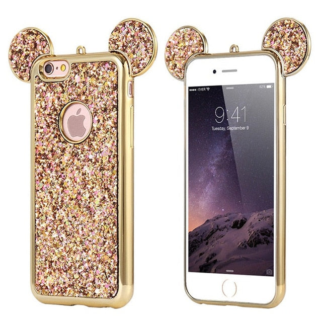 Glitter Mickey Mouse Ears Phone Case For iPhones & Samsung