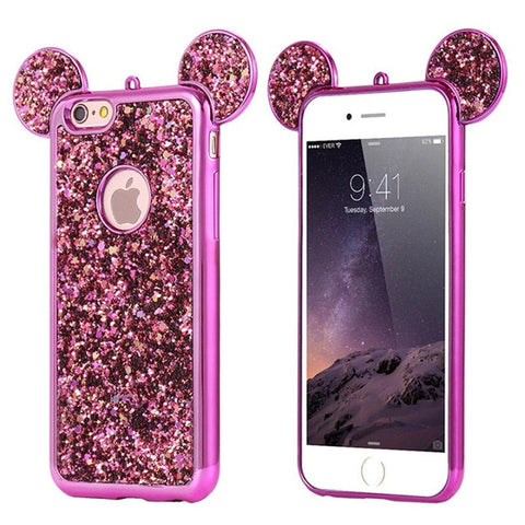 Image of Glitter Mickey Mouse Ears Phone Case For iPhones & Samsung