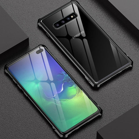 Image of New Luxury Metal Armor Cover Case Frame Shell Bumper Back Clear Glass For Samsung S10 S10 Plus S10 Elite S10 E