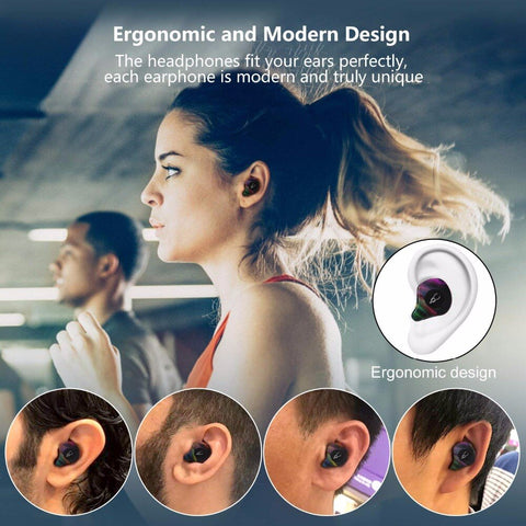 Image of New Bluetooth 5.0 True Wireless Stereo Earbuds Earphones IPX5 Water-Resistant Headset for Phone HD Communication with Charge Box