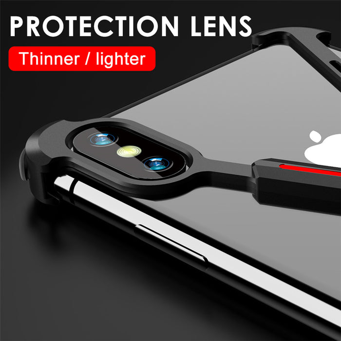 Ultra Slim Luxury X Shape Metallic Shockproof Shell Bumper Case For iPhone X XR XS MAX