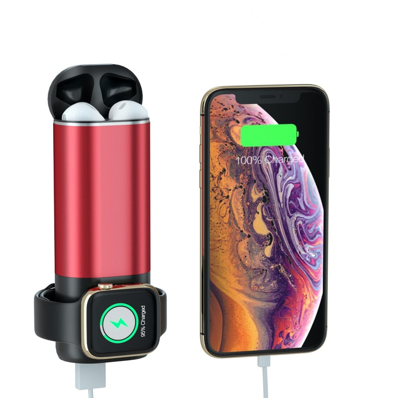 Qi Wireless Portable fast Charger 5200 mah 3 in 1 For Apple Watch, AirPods and iPhone
