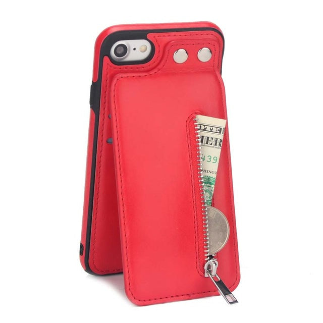 Fashion Zipper Leather Phone Case for iphone