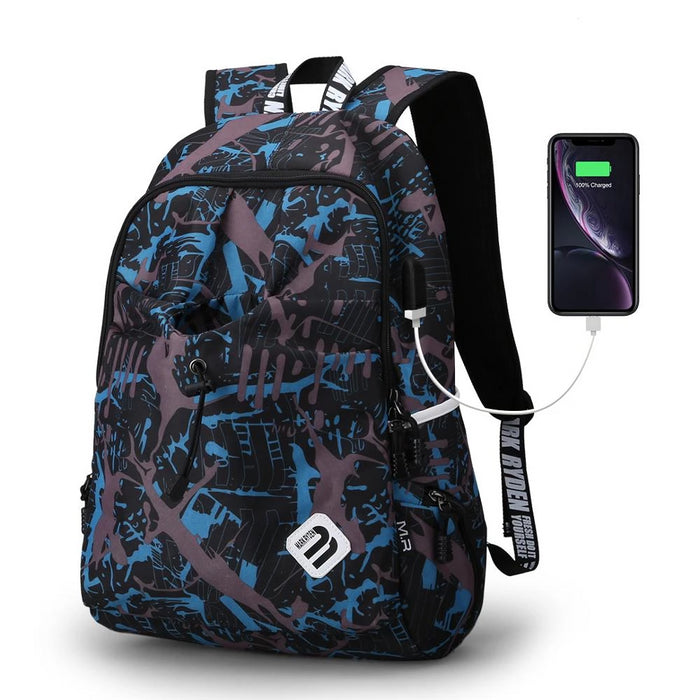 Ultra Light Water-Resistant Nylon Casual Travel School Backpack with USB Charging Laptop Compartment