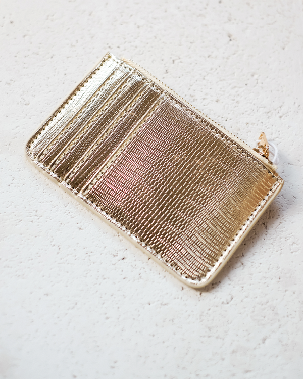 AIMEE CARD HOLDER - GOLD LIZARD