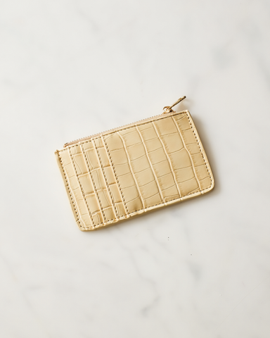 AIMEE CARD HOLDER - VANILLA CROC-Handbags-Billini--Billini