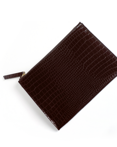 CHRISSY CLUTCH - CHOCOLATE CROC