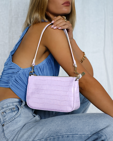 CINDY SHOULDER BAG - LILAC CROC-Handbags-Billini--Billini