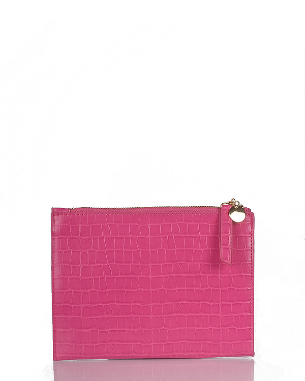 CHRISSY CLUTCH - FUCHSIA CROC