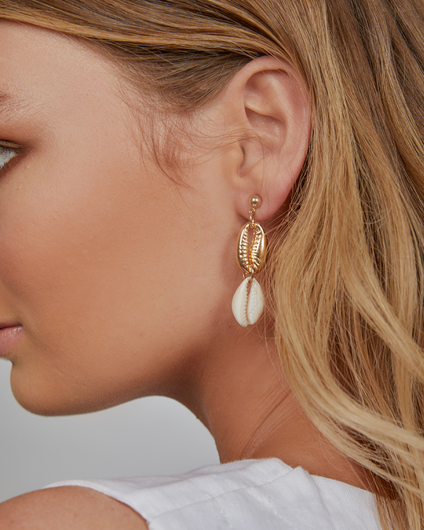 ELLE DROP EARRING - GOLD/NATURAL