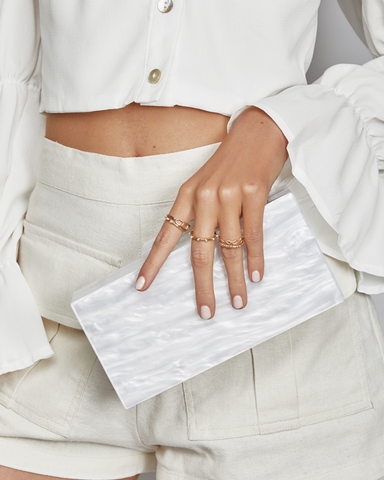BILLINI | EMMA RESIN CLUTCH - WHITE PEARL |  |Handbags