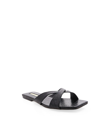 FLYNN - BLACK CROC-Sandals-Billini-Billini