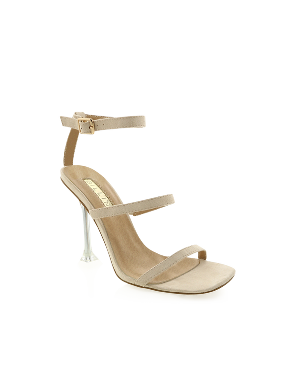 FRANKIE - NUDE SUEDE/CLEAR