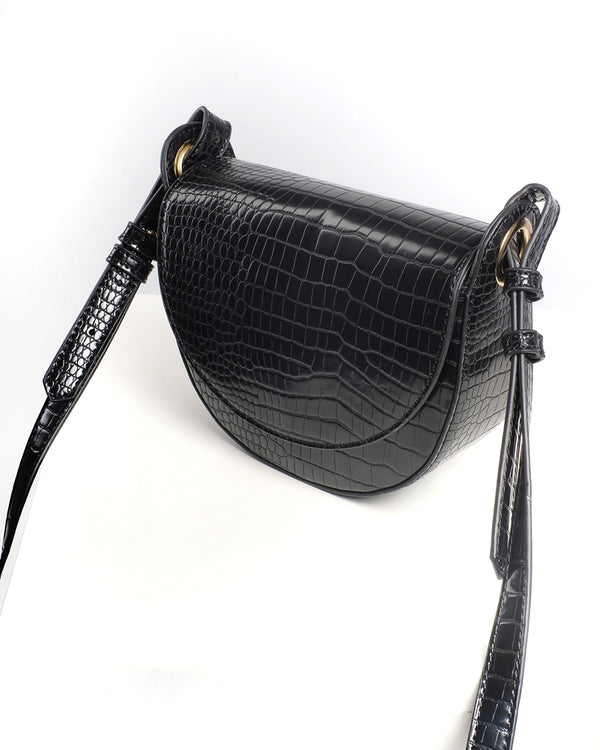 HENLEY SHOULDER BAG - BLACK CROC