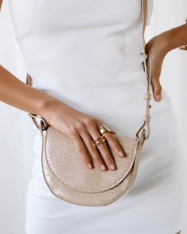 HENLEY SHOULDER BAG - NUDE CROC-Handbags-Billini--Billini